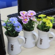 Artificial Flower Decoration in Cute Mini Ceramic Pot