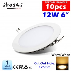 10pcs 12W 6 Inch LED Ceiling Recessed Light Warm White
