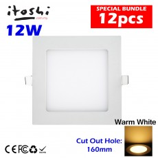 12pcs 12W 6 Inch Square LED Ceiling Light Warm White Driver Not Included