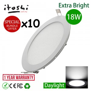 10pcs 18W 8 Inch Led Panel Ceiling Light Round Daylight