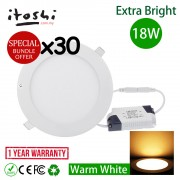 30pcs 18W 8 Inch LED Ceiling Light Save Energy Recessed Light Round Warm White