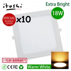 10pcs 18W 8 Inch Led Panel Downlight Square Warm White