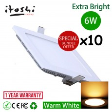 10pcs 6W 4 Inch LED Ceiling Light Square Warm White