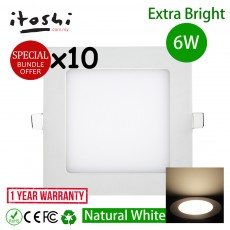 10pcs 6W 4 Inch LED Home Lighting Square Natural White