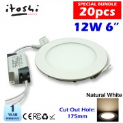 20pcs 12W 6 inch LED Ceiling Light  Round Natural White