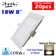 20pcs 8 Inch 18W LED Ceiling Light Living Hall Kitchen Square Natural White