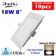 10pcs 8 Inch 18W Led Panel Downlight Square Natural White