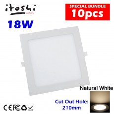 10pcs 18W Led Panel Downlight Square Natural White without LED Driver cut out size 210mm